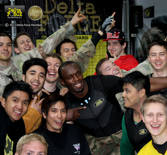 Usain Bolt plays paintball with Delta Force